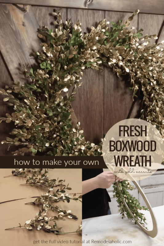 DIY Homemade Fresh Boxwood Wreath With Gold Accents | This DIY fresh boxwood wreath is an easy craft for a free afternoon -- just a couple of hours and some yard trimmings! Using a homemade wreath form makes it easy and affordable. #remodelaholic
