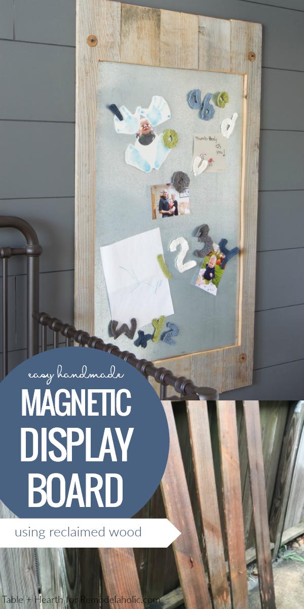 Easy Handmade Magnetic Display Board Using Reclaimed Wood And Metal Sheeting #remodelaholic