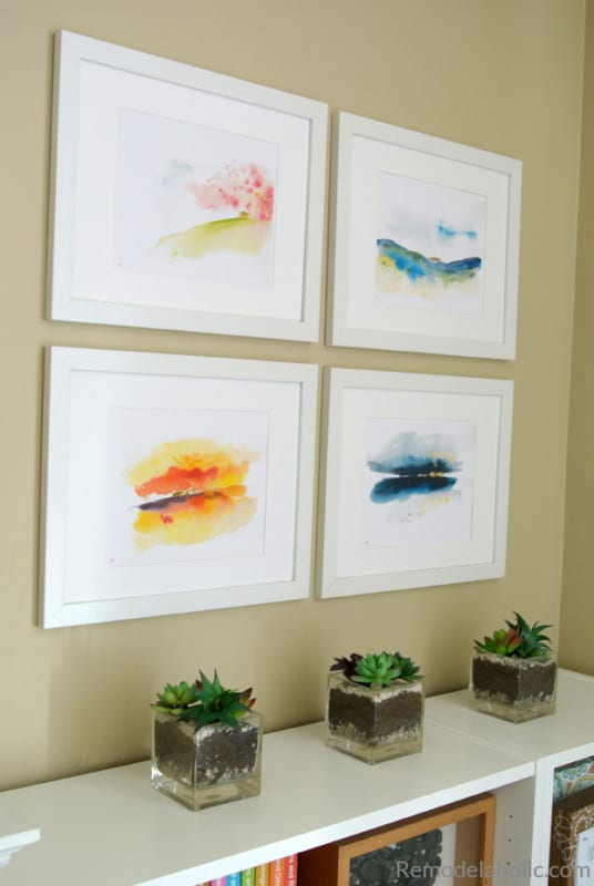Free Printable Set Of Abstract Seasonal Watercolor Landscapes For Spring, Summer, Fall, And Winter #remodelaholic