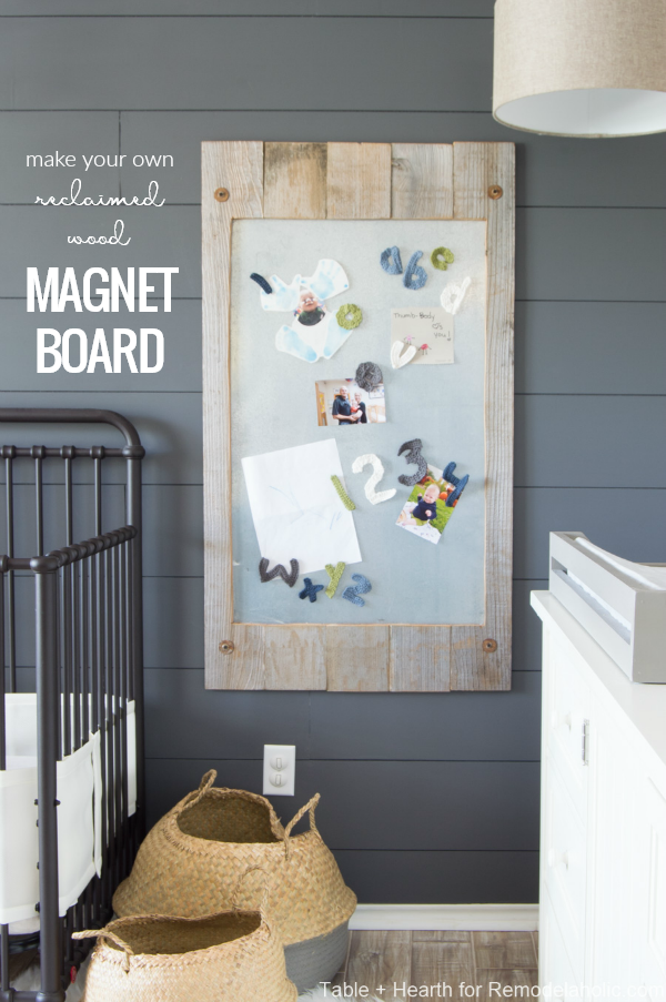 Make Your Own DIY Magnet Board With Reclaimed Wood And Metal Sheeting For Displaying Kids Artwork #remodelaholic
