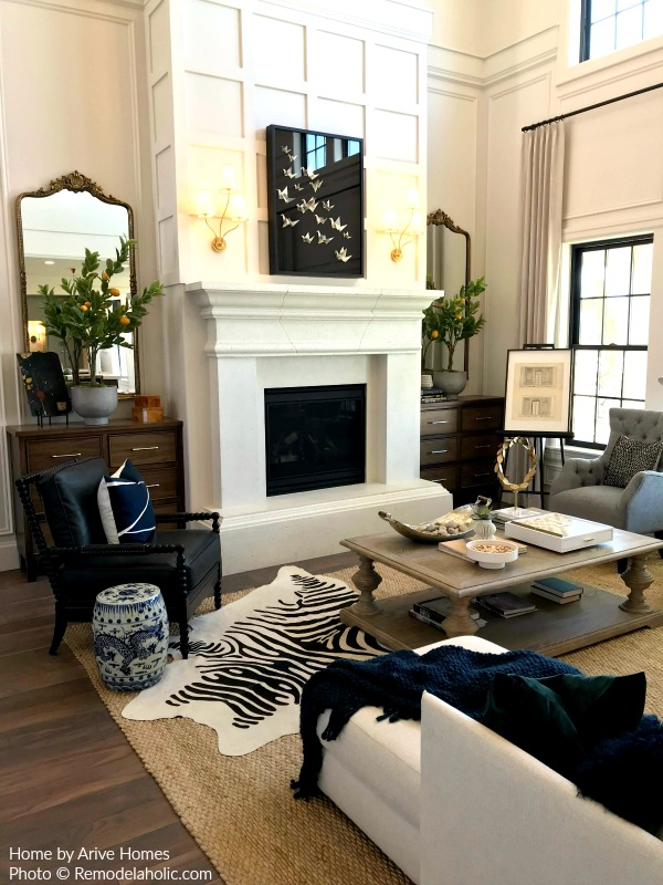 Black And White Decor In Vaulted Great Room, Arive Homes And Brandalyn Dennis Design, 2018 Utah Valley Parade Of Homes, Featured On Remodelaholic