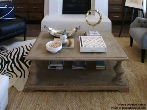 Farmhouse Style Natural Wood Coffee Table In Living Room, Arive Homes And Brandalyn Dennis Design, 2018 Utah Valley Parade Of Homes, Featured On Remodelaholic