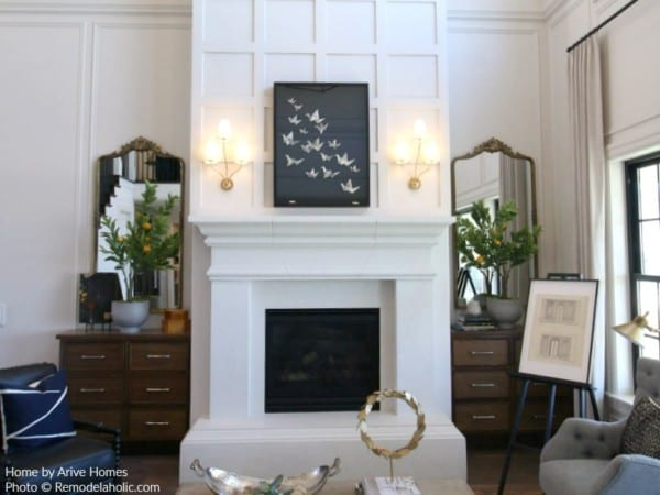 Gold Mirrors And Gold Light Fixtures, Modern Farmhouse Style, Arive Homes And Brandalyn Dennis Design, 2018 Utah Valley Parade Of Homes, Featured On Remodelaholic