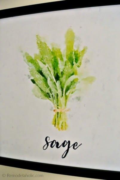 Free Sage Kitchen Herb Printable Set Of 4 Watercolor Herb Art Prints Digital Download #remodelaholic