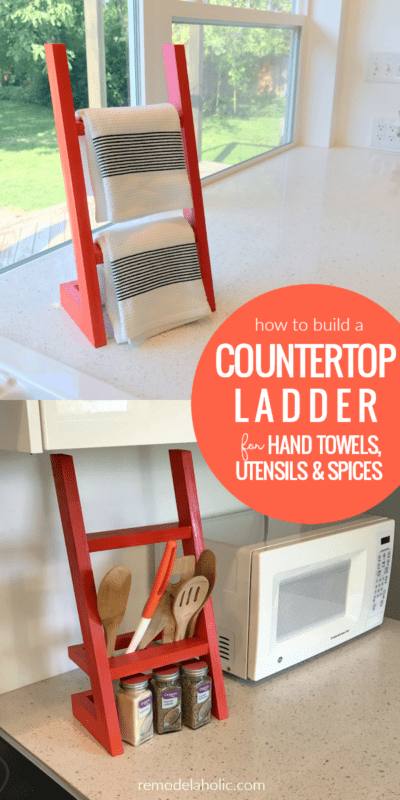 How To Build A Countertop Ladder For Hand Towels, Utensil, Spices | Easy colorful and chic kitchen organizing idea! #remodelaholic