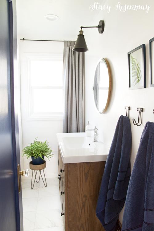 Modern Blue And White Bathroom Makeover
