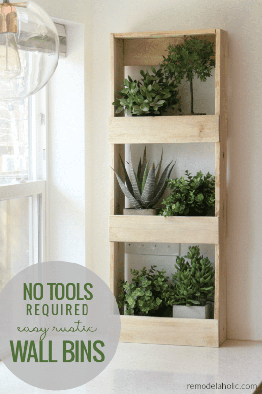 No Tools Required Easy Rustic Wood Wall Bins For Storage And Decor #remodelaholic