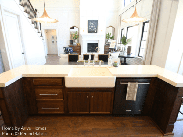 Apron Sink And Wrap Around Island In Modern Farmhouse Kitchen, Arive Homes And Brandalyn Dennis Design, 2018 Utah Valley Parade Of Homes, Featured On Remodelaholic