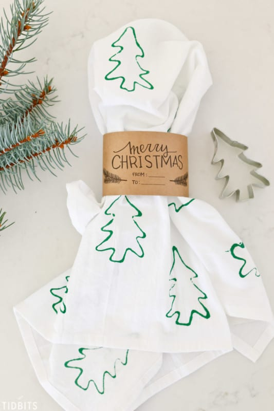 Christmas Cookie Cutter Stamped Tea Towels 42