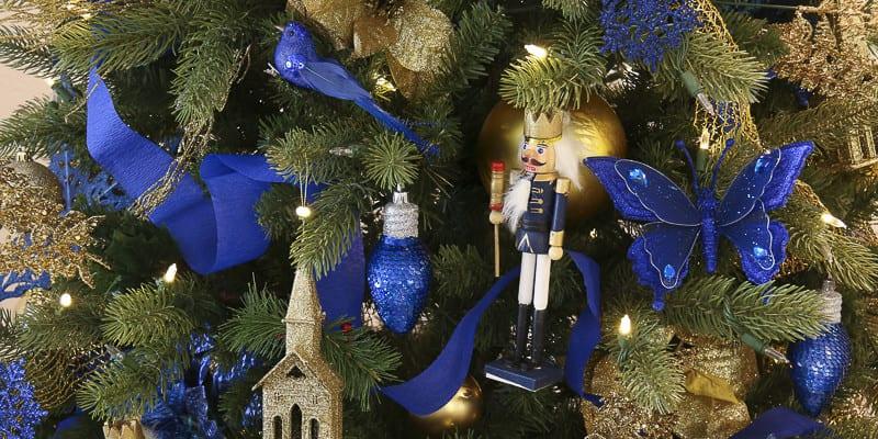 Gold and Blue Dollar Store Christmas Tree Decorating + 3 Money-Saving Christmas Tree Hacks