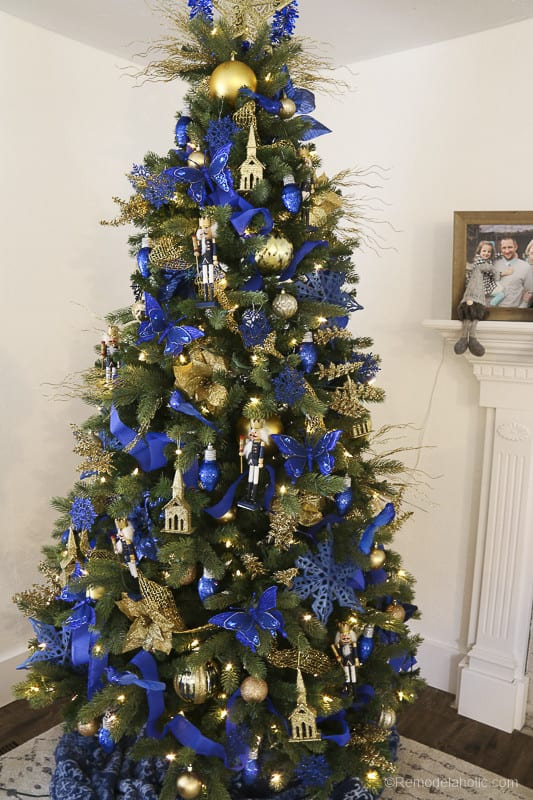 Remodelaholic Gold And Blue Dollar Store Christmas Tree