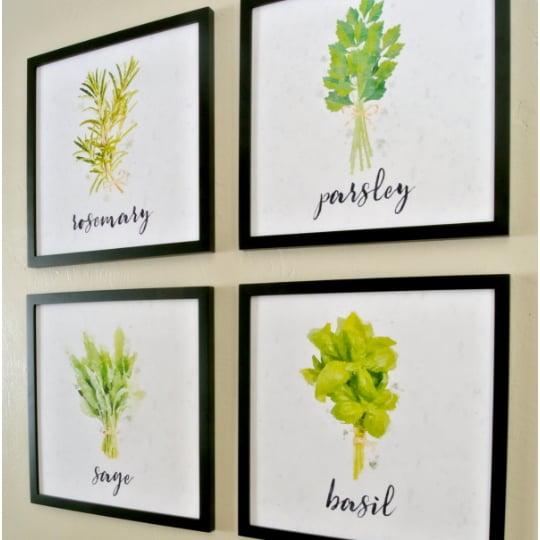 Free Kitchen Printable Watercolor Herb Art Set