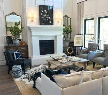 Scandinavian Style Great Room With White Fireplace, Arive Homes And Brandalyn Dennis,Utah Valley Parade Of Homes 2018, Featured On Remodelaholic