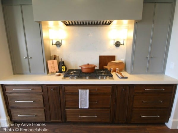 Contrasting Upper And Lower Cabinets In A Farmhouse Kitchen, Arive Homes And Brandalyn Dennis Design, 2018 Utah Valley Parade Of Homes, Featured On Remodelaholic
