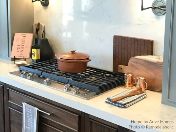 Copper Cookware Completes A Modern Farmhouse Kitchen, Arive Homes And Brandalyn Dennis Design, 2018 Utah Valley Parade Of Homes, Featured On Remodelaholic