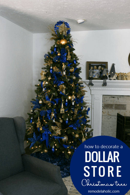 Save money by decorating your Christmas with an affordable Dollar Tree haul! This is our third dollar store Christmas tree, and this gold and blue tree decor also features some of our favorite money-saving Christmas tree decorating hacks. #remodelaholic #Christmastree #dollarstoreChristmas #Christmashacks