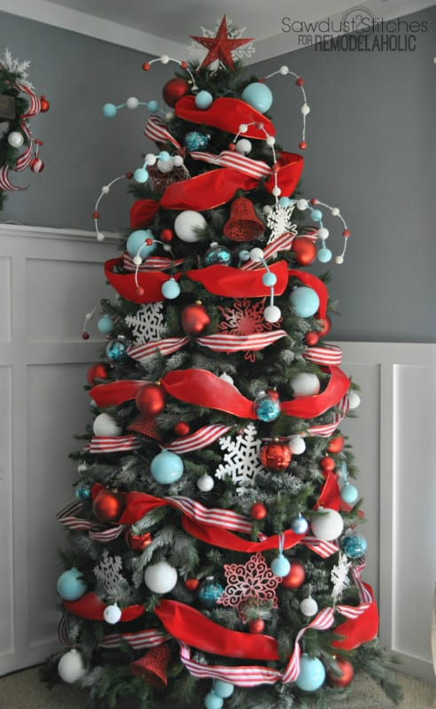 How To Decorate A Christmas Tree With Dollar Store Ornaments On A Budget, Sawdust2stitches For #remodelaholic
