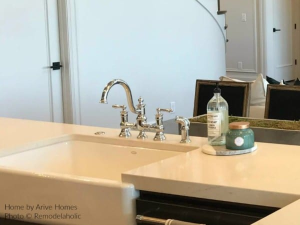 Modern Farmhouse Kitchen With Chrome Fixtures, Arive Homes And Brandalyn Dennis Design, 2018 Utah Valley Parade Of Homes, Featured On Remodelaholic