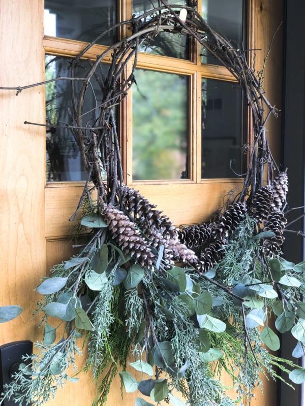 Sarah Grace In My Space DIY Grapevine Wreath With Cedar Www.graceinmyspace.com