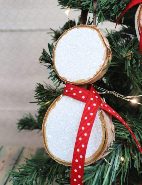 Sarah V Creative Ramblings Snowman Wood Slice Ornament Creative Ramblings Vertical