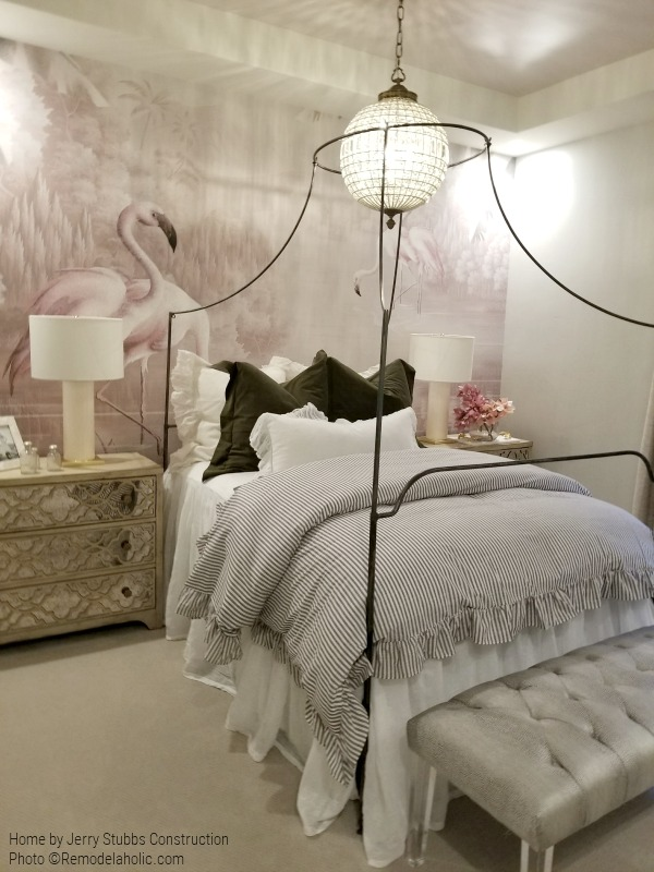 Bedroom With Flamingo Wall Mural, Pinstripe Bedding, And Mirrored Dresser, Jerry Stubbs Construction And Tique & Company, 2018 Utah Valley Parade Of Homes On Remodelaholic