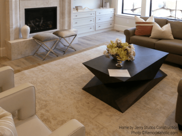 Large Neutral Area Rug In Modern Transitional Style Home, Jerry Stubbs Construction, Tique & Company Design, 2018 Utah Valley Parade Of Homes Featured On Remodelaholic