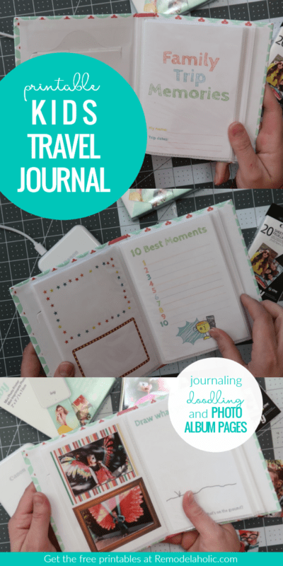 Give your kids their own vacation memory book with this free printable kids travel journal photo book. Slip the pages into a mini photo album and use our favorite travel-friendly photo printer to add photos while you're on the go! #remodelaholic #CraftywithCanon #freeprintable #kidsjournal