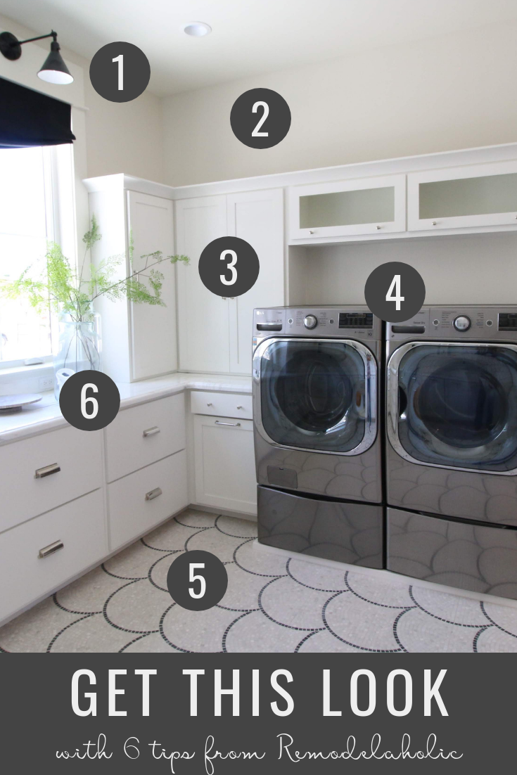 Get This Look: Modern Transitional Style Laundry Room | This large luxurious modern transitional style laundry room features natural light, mosaic tile, white cabinetry and sleek appliances -- and we'll show you how to recreate this style no matter what size your laundry room is! #getthislook #uvph #remodelaholic
