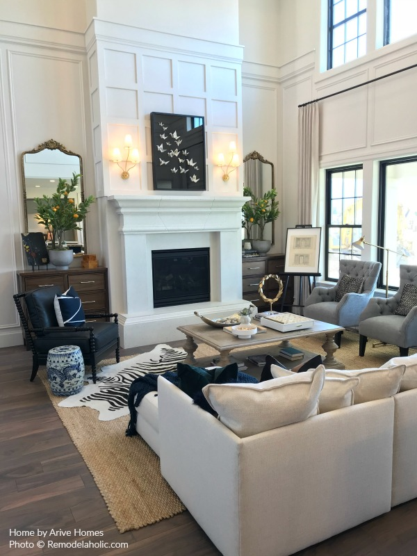 Scandinavian Style Great Room With White Fireplace Arive Homes And Brandalyn DennisUtah Valley Parade Of Homes 2018 Featured On Remodelaholic