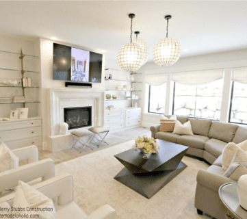 White Family Room With Unique White Globe Lighting And Neutral Color Palette, Jerry Stubbs Construction And Tique And Company, 2018 Utah Valley Parade Of Homes On Remodelaholic