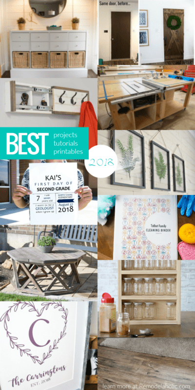 Best Projects Tutorials And Printables Of 2018 Ikea Hack Entry Console, Flat Door To Wood Barn Door, Farmhouse Family Monogram Custom Printable, Table Saw Workbench, And More #remodelaholic