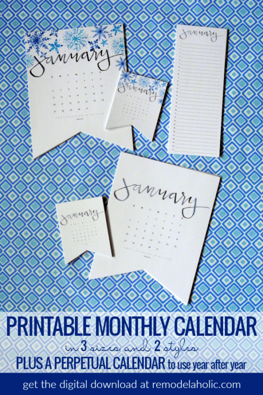Decorate while organizing your schedule and dates with this beautiful watercolor handlettered printable calendar, plus a matching perpetual calendar for birthdays and anniversaries. 2019 calendar digital download in 2 styles and 3 sizes. #remodelaholic