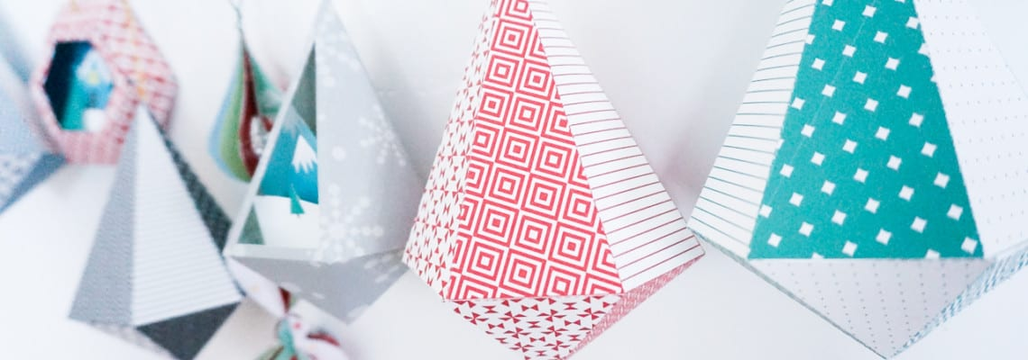 Printable DIY 3D Geometric Paper Ornaments for the Christmas Tree