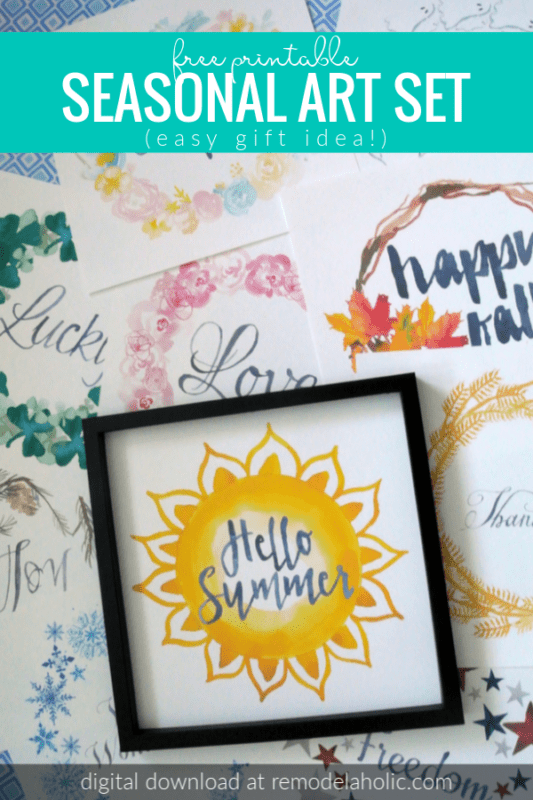 Easy gift idea! Holiday decorating is easy with this free printable seasonal watercolor art set. Just print the 10 hand-painted watercolor wreaths, place them all in a frame, and swap them every season for on-trend and on-time easy decorating. Digital download. #remodelaholic