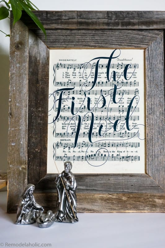 Free Printable Farmhouse Style Vintage Christmas Song Print Set @Remodelaholic 3