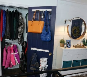 Organized Coat Closet And Entryway Makeover With IKEA Hack Storage Console And Dual Coat And Broom Closet #remodelaholic