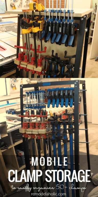 Organize your woodworking clamps and tools with this sturdy mobile clamp rack and tool storage system. Perfect for clamp storage and tool organization. #remodelaholic