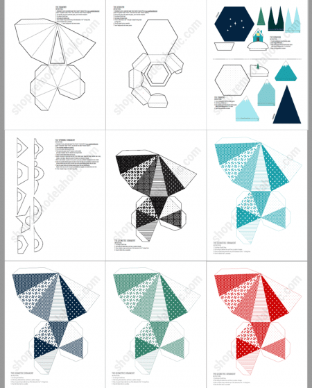 Printable Christmas Decor, 3d Paper Ornament Templates #remodelaholic