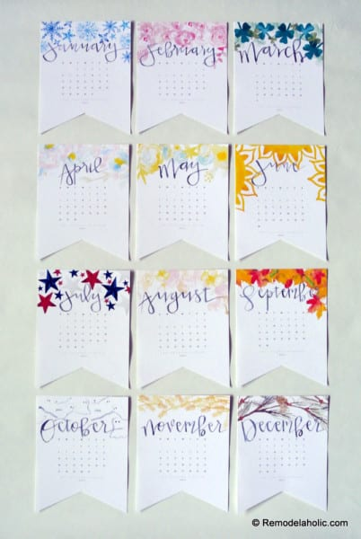Colorful Handlettered Printable Monthly Calendar in 3 Sizes
