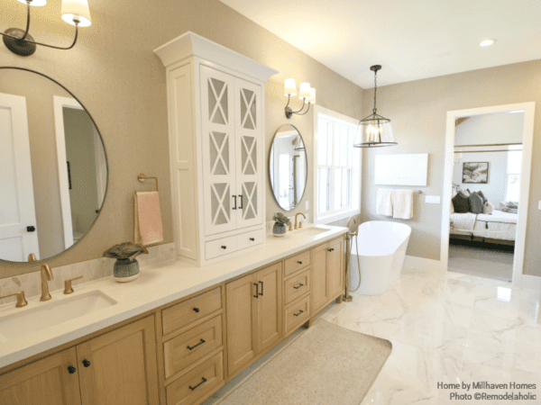 Farmhouse Style Master Bath With Wood Cabinetry With Stand Alone Bathtub Millhaven Homes And Four Chairs Design 2018 Utah Valley Parade Of Homes Featured On Remodelaholic