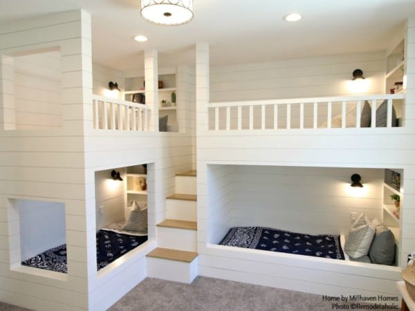 Kids Room With Built In Bunks For Four Millhaven Homes And Four Chairs Design 2018 Utah Valley Parade Of Homes Featured On Remodelaholic