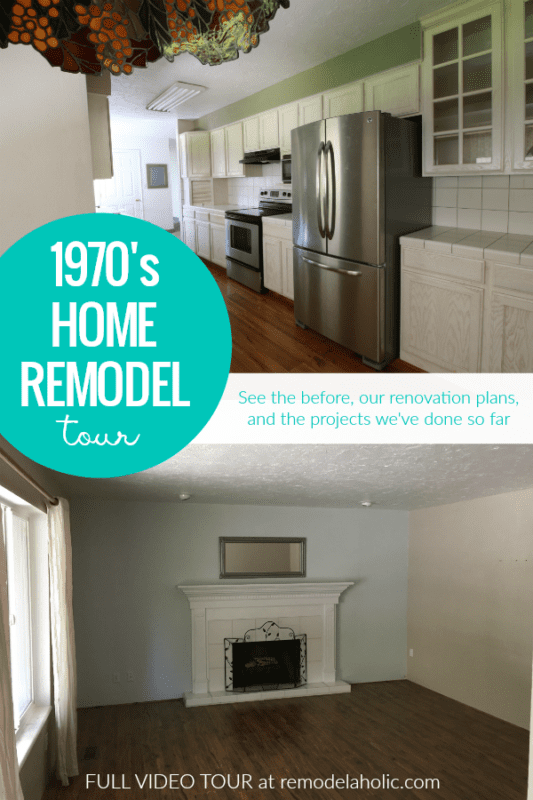 This 1970's home renovation shows the before, our plans for renovating, and what we've done so far in this home remodel. Features a long narrow walk-through galley kitchen, tile backsplash, small dining area. #remodelaholic