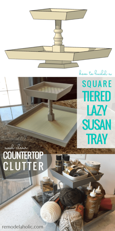 Clear Countertop Clutter And Organize Utensils And Supplies With A Square Tiered Lazy Susan Tray #remodelaholic