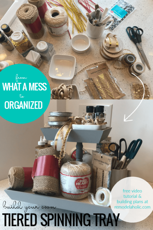 Organize Craft Supplies, Makeup And Toiletries, Office Supplies, Snacks, Produce, And More With This DIY Tiered Spinning Tray Tutorial #remodelaholic