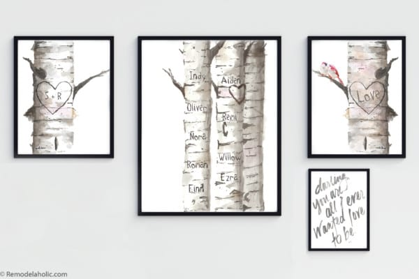 Printable Love Wall Art: Customizable Watercolor Birch Tree Bundle With Love Birds And Family Names