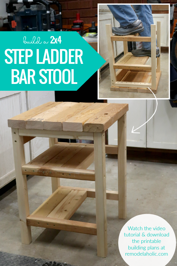 build an easy 2x4 step ladder bar stool combo that flips between seating and stepstool - building plan and video tutorial #remodelaholic