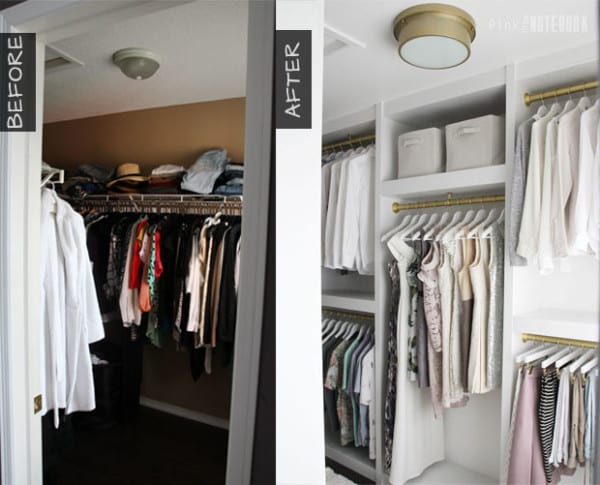 DIY Custom Walk In Closet Before And After, Pink Little Notebook Featured On #Remodelaholic