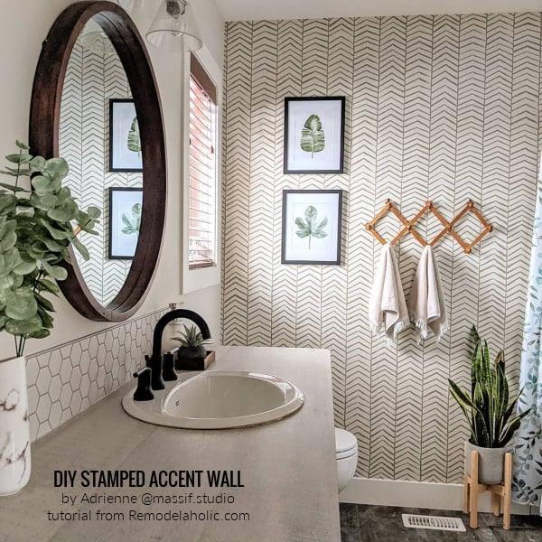 DIY Stenciled Stamped Herringbone Wall Bathroom Makeover By @massif Studio, Tutorial Remodelaholic (1)