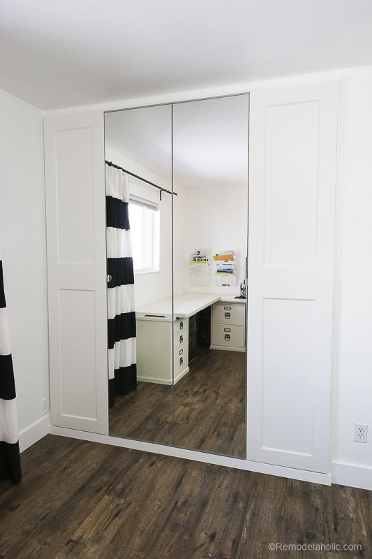 IKEA Closet Organizer with GRIMO and VIKEDAL doors @Remodelaholic 3 2