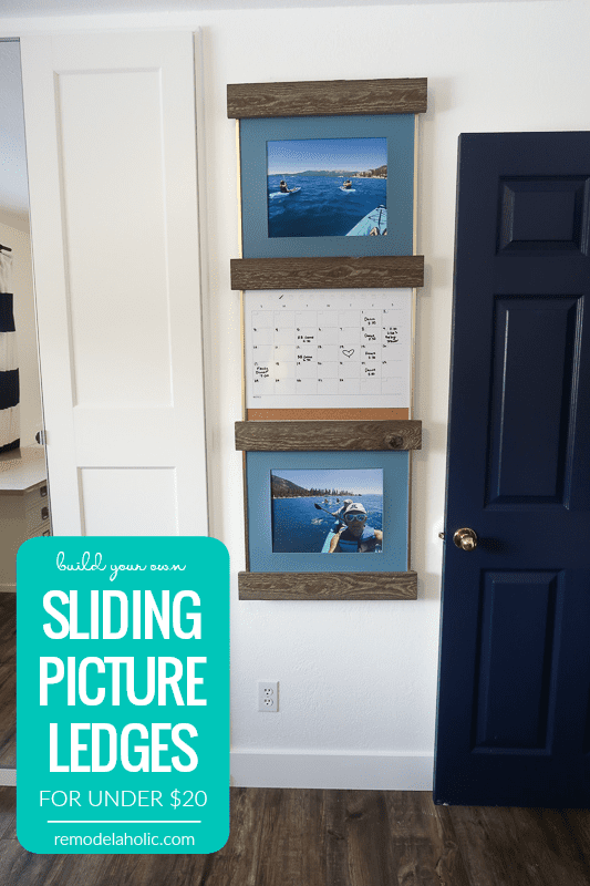 Build Your Own Set Of Wood Sliding Picture Ledges For Under $20 Video Tutorial #remodelaholic